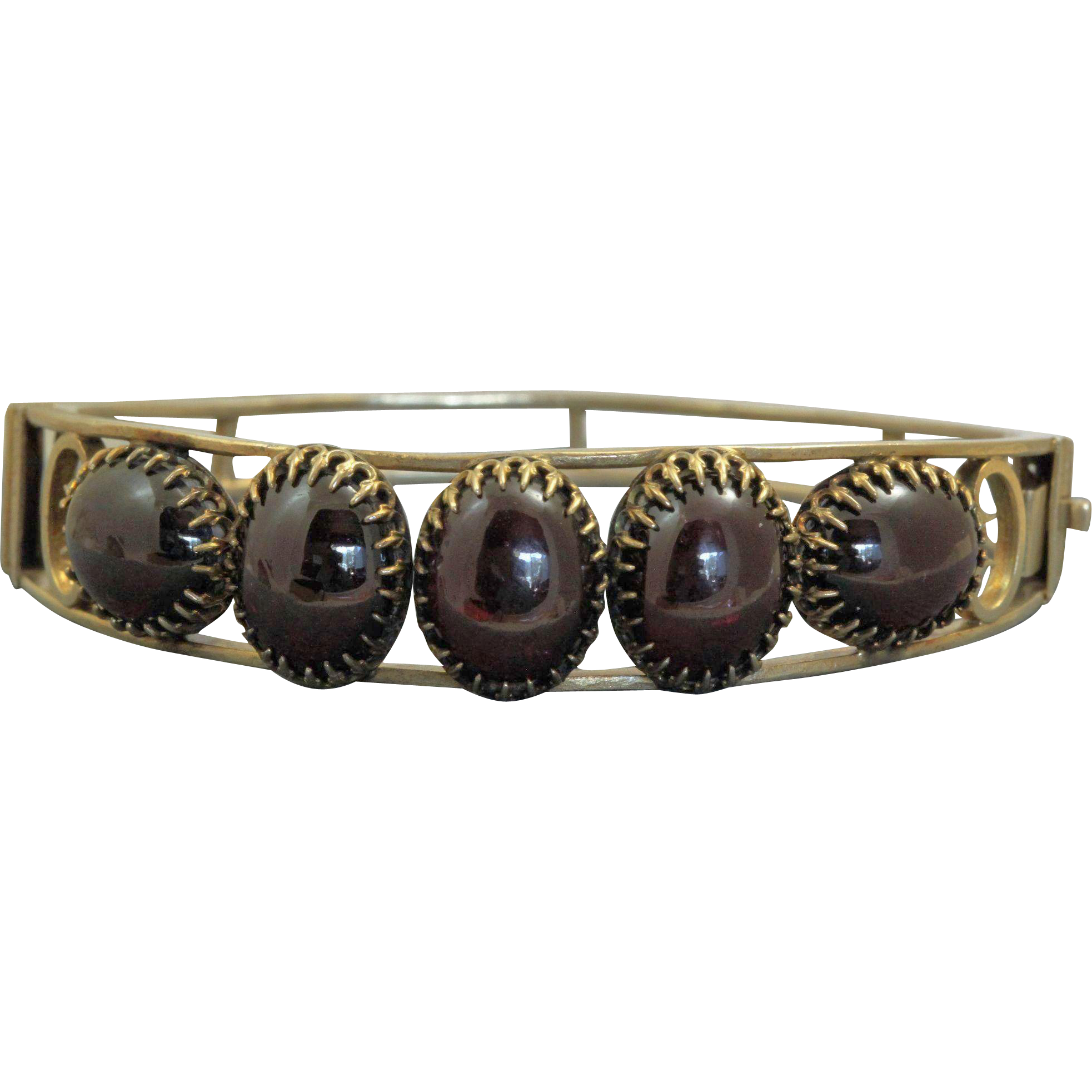 Silver Gilt Garnet Bangle from 1880