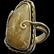 Estate Sterling Vermeil Reticulated Quartz Handmade Ring