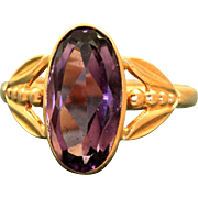 Estate 14 K Russian Amethyst Rose Gold Ring