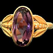 Estate 14 K Russian Amethyst Rose Gold Ring
