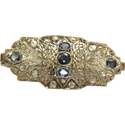18 K W Edwardian Sapphire and Rose Cut Diamond Brooch/Pendant
