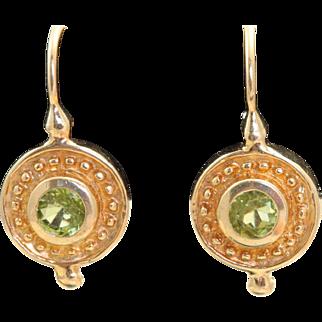 Estate 14 K Peridot Etruscan Revival Earrings