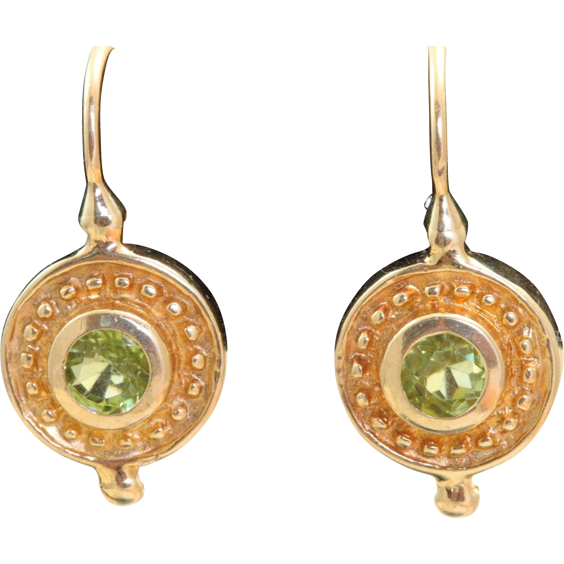 Estate 14 K Peridot Etruscan Revival Earrings