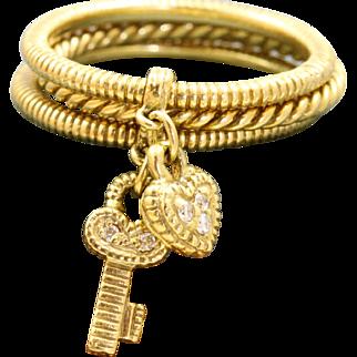 Estate Retired Judith Ripka 18 K Diamond Key Heart Three Ring Stack