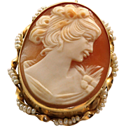 Estate 14 K Cameo Brooch with Seed Pearls