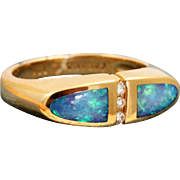 Estate Kabana 14 K Black Opal and Diamond Band