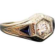 Estate 1920's Belais 18 K @1CT Diamond Sapphire Ring