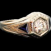 Estate 1920's Belais 18 K @1CT Diamond Sapphire Ring
