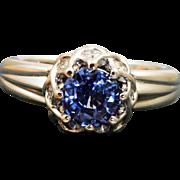 Estate Platinum Designer 1.46 CT Ceylon Sapphire and Diamond Ring