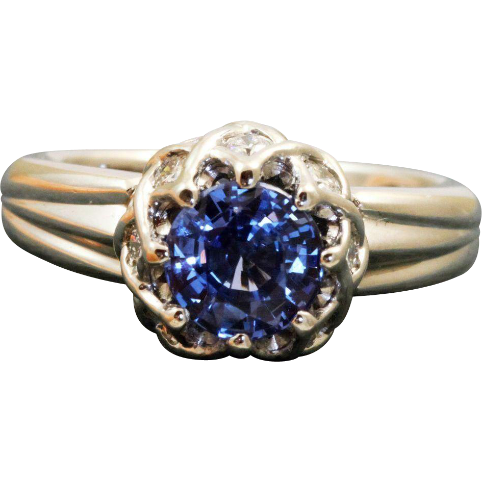 Estate Platinum Designer 1.46 CT Ceylon Sapphire and Diamond Ring