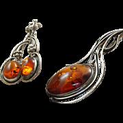 Estate Sterling Honey Amber Brooch and Earring Set