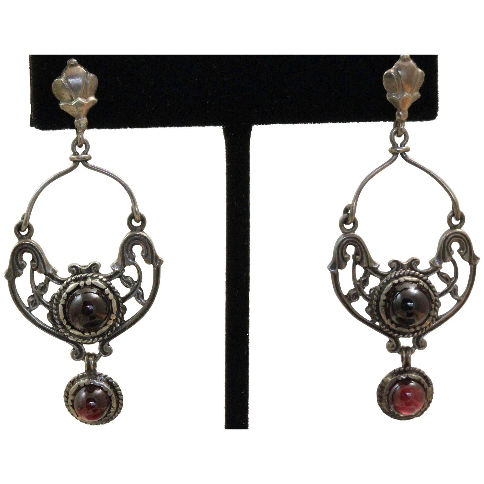 Estate Sterling Genuine Garnet Chandelier Earrings
