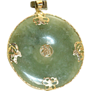 Estate 14K Butterfly Jade Pendant