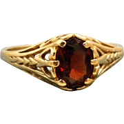 Estate 14 K Garnet Detailed Ring