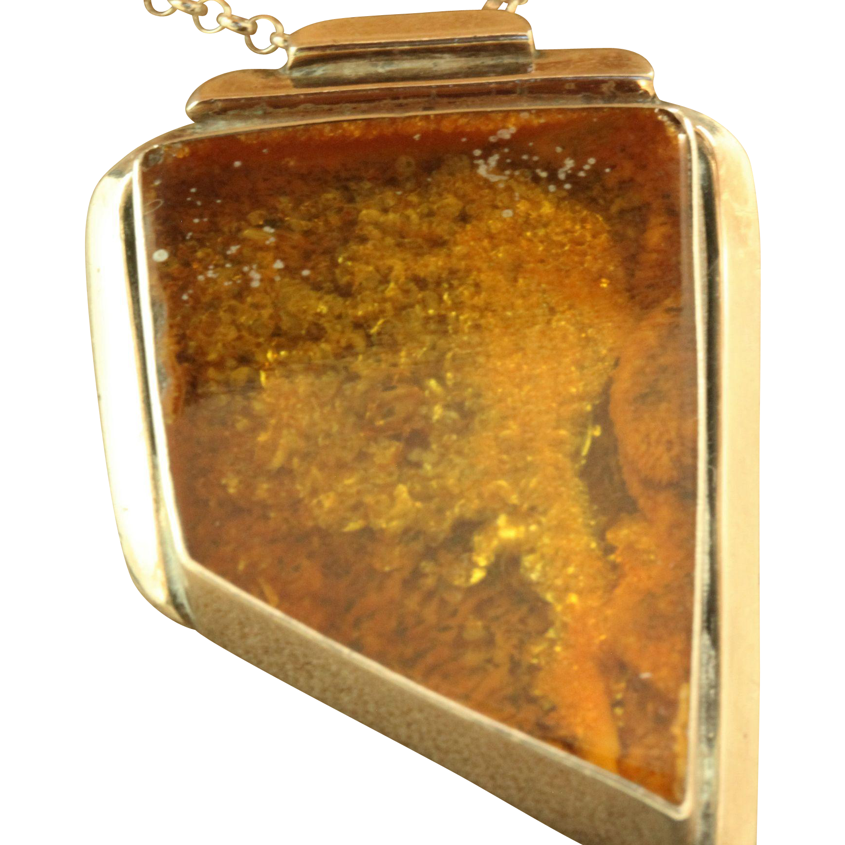 "Estate Sterling Modernist Amber Pendant on 20"" Rolo Chain"