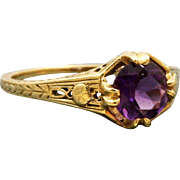 Estate 14 K Filigree 0.80 CT Amethyst Ring