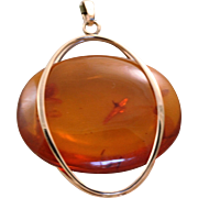 Estate 14 K Russian Honey Amber Modernist Pendant