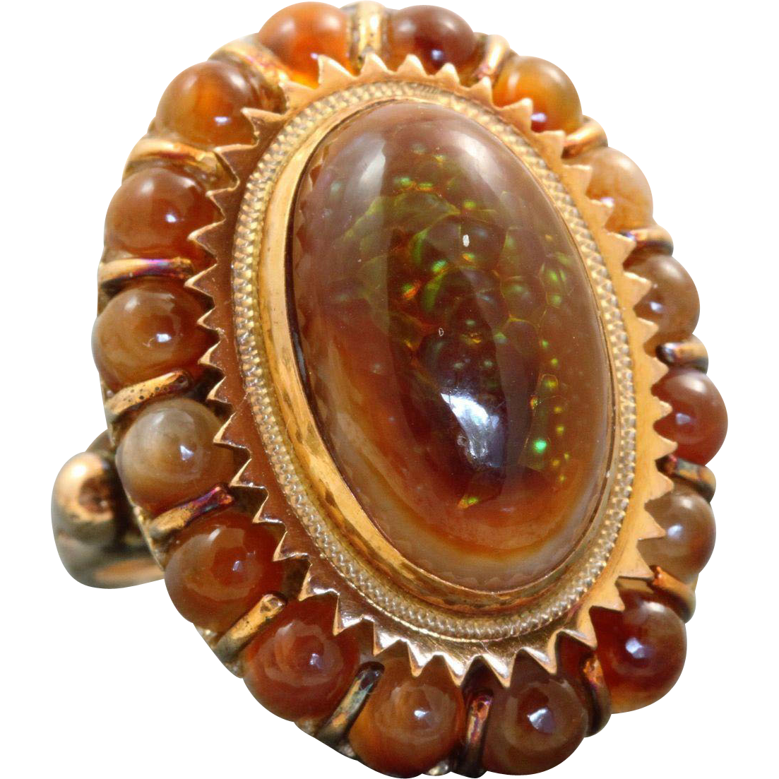 Estate 14 K Fire Agate Ring