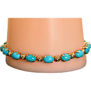 Estate Turquoise 14 K 'Hugs and Kisses' Bracelet