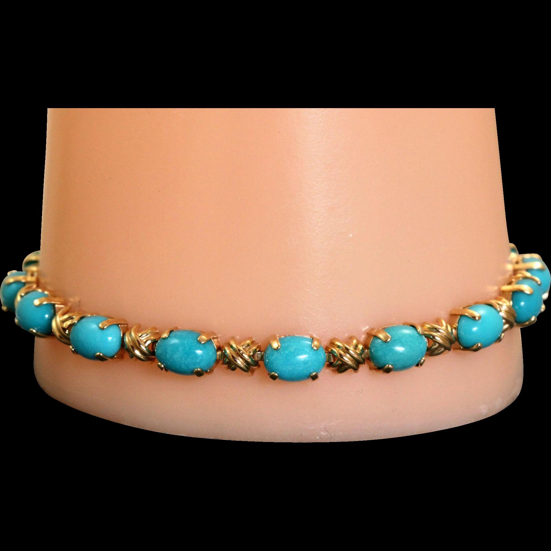 Estate Turquoise 14 K 'Hugs and Kisses' Bracelet
