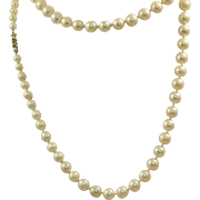 "Estate 32"" Graduated Pearl Necklace with Sterling and Paste Clasp"