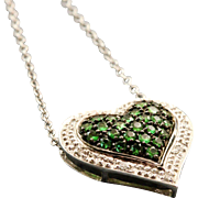 Estate 14 K Tsavorite Garnet Double Heart Necklace
