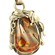 Estate Sterling Amber Art Nouveau Pendant