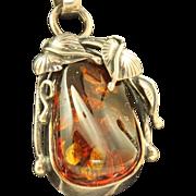 Estate Sterling Amber Art Nouveau Pendant