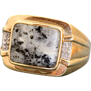 Estate Gentleman's 9 CT Marble Diamond Ring Sheffield, England