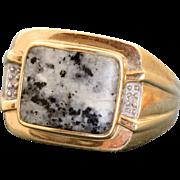 Estate Gentleman's 9 CT Marble Diamond Ring Sheffield, England