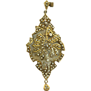 Estate 10 K Filigree and Seed Pearl Pendant
