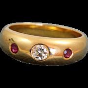 Estate @21 K Diamond and Ruby Gypsy Ring