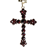 10 K German Rose Cut Garnet Cross