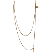 "Vintage 10 K 48"" Long Chain with Opal Slide"