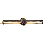 Estate 14 K Amethyst Seed Pearl Brooch