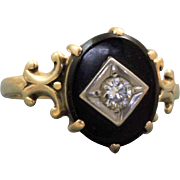 Estate 10 K 0.20 CT Diamond Onyx Ring
