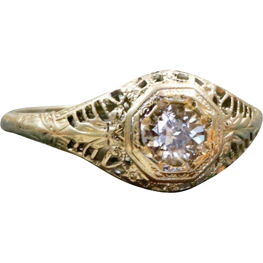 Estate 18 K 0.45 CT Filigree Ring