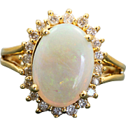 Estate 14 K Opal and Diamond Ring