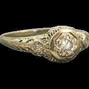 Estate 14 K 0.33 CT Diamond Filigree Ring