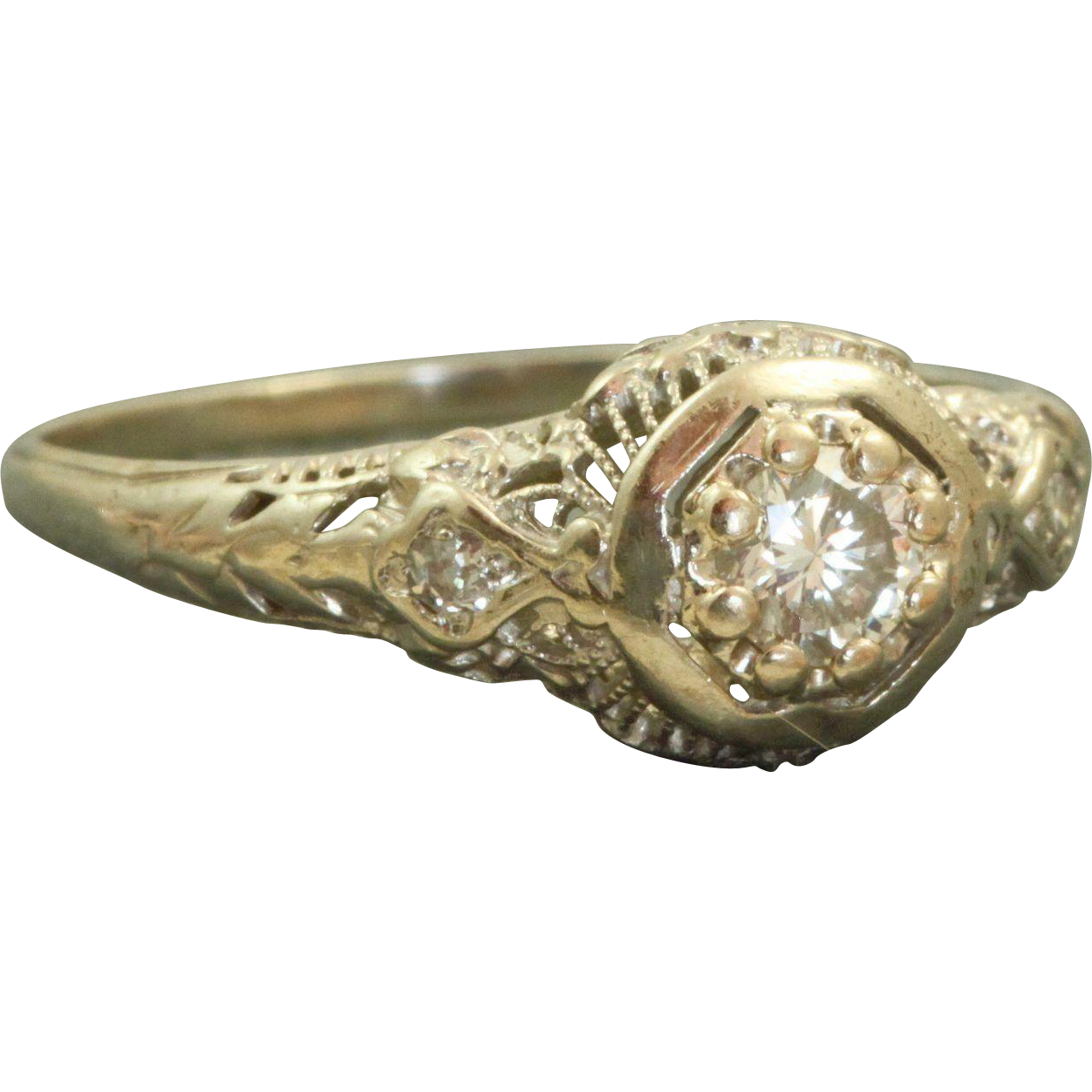 Estate 14 K 0.33 CT Diamond Filigree Ring