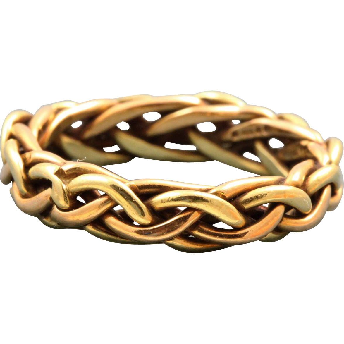 Estate 18 K Two Color Gold Rustic Band