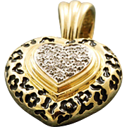 14 K Estate Diamond Heart Enamel Pendant Enhancer