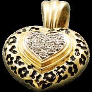 14 K Estate Diamond Heart Enamel Pendant Enhancer
