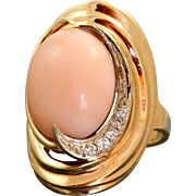 14 K Estate 10 CT Coral and Diamond Ring