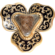 Estate 14 K Enamel Mourning Brooch