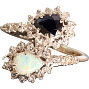 Estate Platinum Opal Sapphire and Diamond Ring