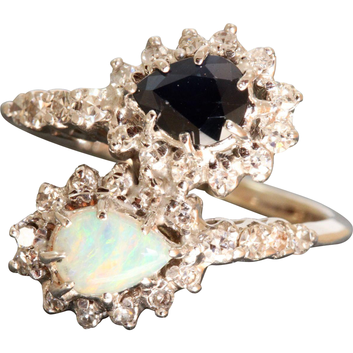 Estate Platinum Opal Sapphire and Diamond Ring