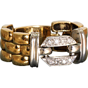 Estate 18 K Diamond Watch Band Ring