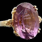 Estate 14 K Amethyst and Diamond Dinner Ring
