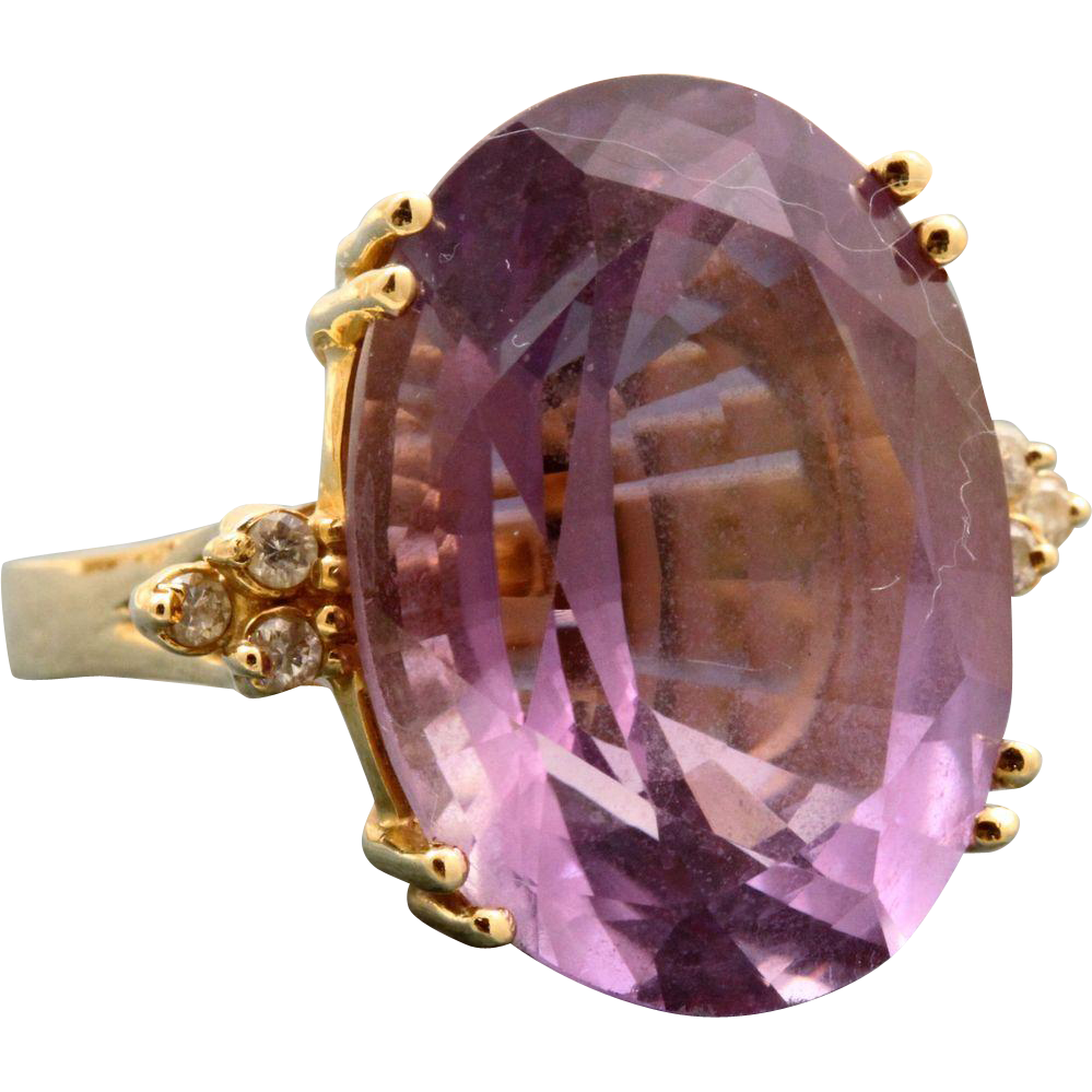 Estate 14 K Amethyst and Diamond Dinner Ring